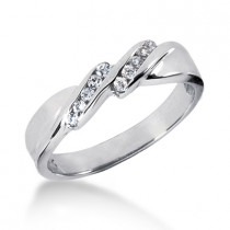 Thin Platinum Women's Diamond Wedding Band 0.12ct