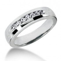 Thin Platinum Women's Diamond Wedding Ring 0.28ct