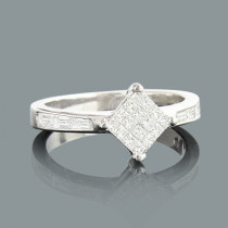 Princess Cut Baguette Diamond Engagement Ring 0.75ct 14K