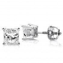 Princess Cut Diamond Platinum Stud Earrings 0.75ct
