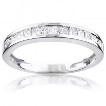 Thin Princess Cut Diamond Wedding Band 0.59ct 14K Gold