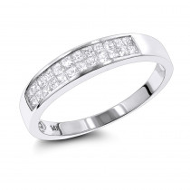 Thin Princess Cut Diamond Wedding Band for Women & Men 0.75ct 14K Gold