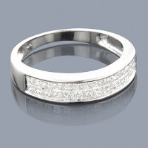 Thin Princess Cut Diamond Wedding Band 0.92ct 14K