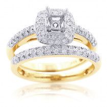 Princess Diamond Engagement Ring Mounting Set 0.65ct 14K Gold