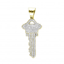 Real 10k Gold Diamond Key Pendant For Men by Luxurman 0.65ct
