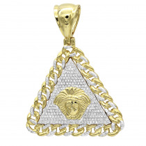 Real 10K Gold Diamond Medusa Head Triangle Pendant Cuban Link Chain 0.8ct