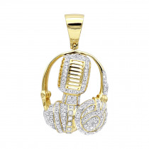 Real 10k Gold Genuine Diamond Microphone & Headphones Pendant 1ct DJ Charm