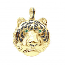 Real 14K Gold Tiger Head Diamond Pendant for Men 2.2ct Black Diamonds