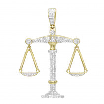 Real Gold Zodiac Jewelry: 10K Gold Diamond Libra Pendant 1.1ct by Luxurman