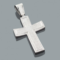 Real Hip Hop Jewelry: Large Silver Diamond Cross Pendant 1.77ct