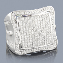 Real Hip Hop Jewelry: Mens Diamond Ring in 10K White Gold 1.04ct