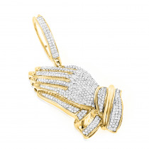 Religious Charms: 10K Solid Gold Praying Hands Pendant with Diamonds 0.9ct