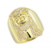 Religious Jewelry 14k Gold Jesus Ring 1 Carat Mens Diamond Ring by Luxurman