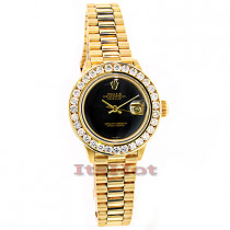 Rolex 18K Yellow Gold Datejust Ladies Custom Diamond Watch 2.50ct