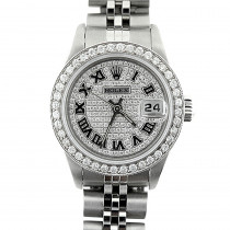 Rolex Datejust Iced Out Diamond Watch for Women Stainless Steel 2.5ct