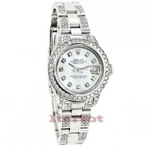Rolex Datejust Ladies Custom Diamond Watch 7.25ct White MOP Face