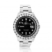 Rolex Explorer II Mens Diamond Bezel Watch Stainless Steel Black Dial 5ct