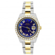 Rolex Oyster Perpetual Datejust Diamond Watch for Men Blue Dial 24ct