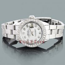 Rolex Oyster Perpetual Datejust Ladies Diamond Watch 1.50ct Custom