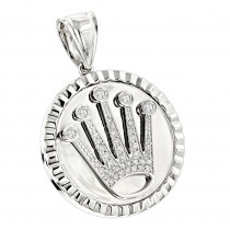 Rolex Style Diamond Crown Pendant Medallion 0.85ct 14k Gold