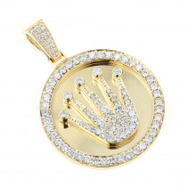 Rolex Style Diamond Pendant 3ct Yellow White Gold Crown Medallion