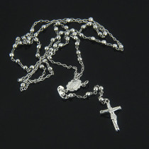 Rosary Beads 14K White Gold Small Rosary Bead Necklace
