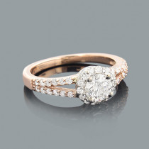 Rose Gold Engagement Ring with Round Diamonds 0.88ct 14K
