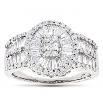 Round Baguette Diamond Ring 1.88ct 14K