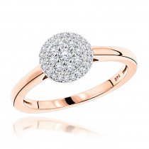 Round Cluster Diamond Engagement Ring 0.22ct 14K Gold