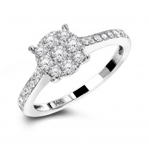 Round Cluster Diamond Engagement Ring 0.55ct 14K Gold