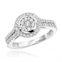Round Diamond Cluster Engagement Ring 0.86ct 10K Gold