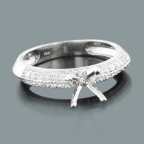 Thin Round Diamond Engagement Ring Setting 0.14ct 14K Gold