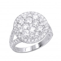 Round Diamond Engagement Rings 14K Gold Ladies Diamond Cluster Ring 2.2ct