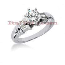 Round Diamond Platinum Engagement Ring 1.42ct