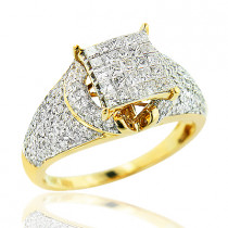 Round Princess Cut Diamond Engagement Ring 1.15ct 14K Gold