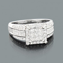 Round Princess Cut Diamond Engagement Ring 1.18ct 14K Gold