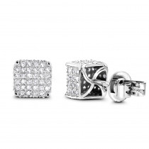 Silver Diamond Earrings 0.75ct