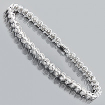Silver Diamond Heart Bracelet 0.50ct