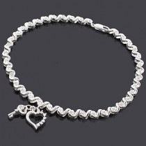 Silver Key Heart Charm Bracelet with Diamonds 0.15ct