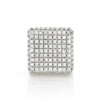 Single 10K Gold Square Men's Diamond Stud Earring 0.6ct Pave Diamonds