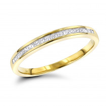 Ultra Thin Slim Princess Cut Diamond Wedding Band 0.33ct 14K Gold