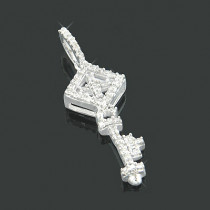 Small 10K Gold Diamond Key Ladies Pendant 0.15ct