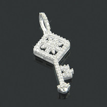 Small 10K Gold Diamond Key Ladies Pendant 0.18ct