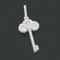 Small 10K Gold Ladies Diamond Key Pendant 0.15ct