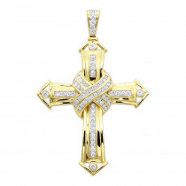 Solid 10k Gold Real Diamond Cross Pendant for Men by Luxurman 1.5ct