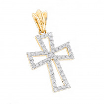 Small 10K Gold Diamond Cross Pendant  for Women 0.2ct
