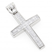 Small 14K Gold Invisible Princess Cut Diamond Cross Pendant 1.25ct