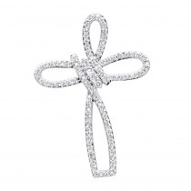 Small 14k Gold Diamond Cross Pendant for Women Fancy Bow Design 0.36ct