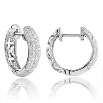 Small 14K Gold Diamond Huggie Hoop Earrings 0.61ct