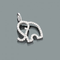 Small Animal Charms: Cute Diamond Elephant Pendant 0.16ct 10K